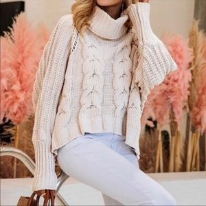 Moon & Madison Cream Cowlneck Cable Knit Sweater